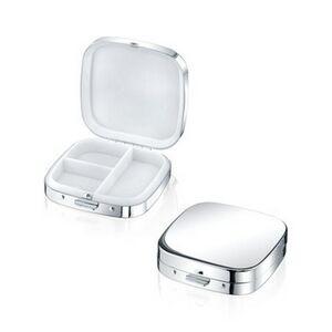 Silver Plated Metal Square Pill Box with 3 Compartments(screened)
